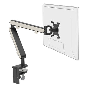 Z1 small computer monitor arm in black with white cap from Desk & Chair shop