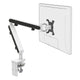 Z1 small computer monitor arm in white with black cap from Desk & Chair shop
