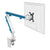 Z1 small computer monitor arm in white with blue cap from Desk & Chair shop