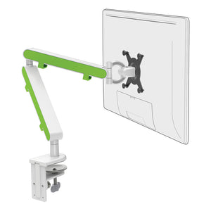 Z1 small computer monitor arm in white with green cap from Desk & Chair shop