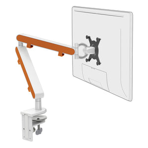 Z1 small computer monitor arm in white with orange cap from Desk & Chair shop