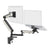 Zbridge double computer monitor and laptop arm in black with white cap from Desk & Chair shop
