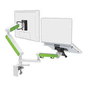 Zbridge double computer monitor and laptop arm in white with green cap from Desk & Chair shop