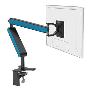 ZGO large computer monitor arm in black with blue cap from Desk & Chair shop