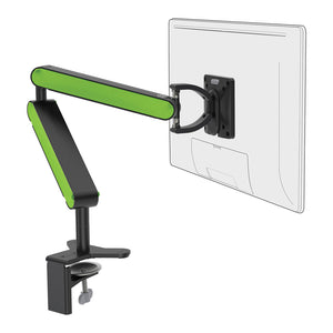 ZGO large computer monitor arm in black with green cap from Desk & Chair shop
