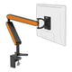 ZGO large computer monitor arm in black with orange cap from Desk & Chair shop