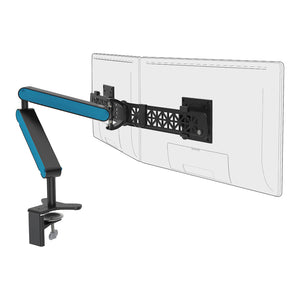 Ztwin computer double monitor arm in black with blue cap from Desk & Chair shop