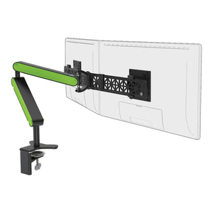 Ztwin computer double monitor arm in black with green cap from Desk & Chair shop