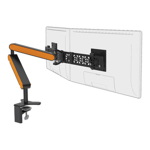 Ztwin computer double monitor arm in black with orange cap from Desk & Chair shop