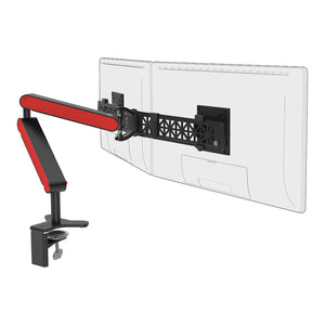 Ztwin computer double monitor arm in black with red cap from Desk & Chair shop