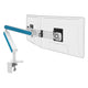 Ztwin computer double monitor arm in white with blue cap from Desk & Chair shop