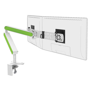 Ztwin computer double monitor arm in white with green cap from Desk & Chair shop
