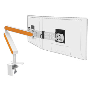 Ztwin computer double monitor arm in white with orange cap from Desk & Chair shop