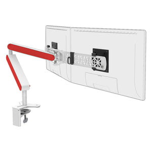 Ztwin computer double monitor arm in white with red cap from Desk & Chair shop