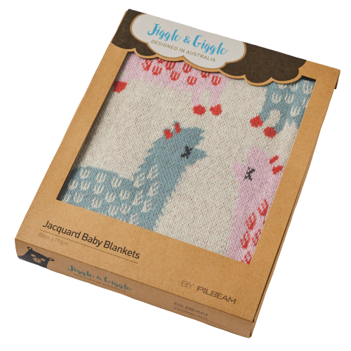 Boxed Llama Jacquard Cotton Baby Blanket - Hansel and Gretel Coffee House
