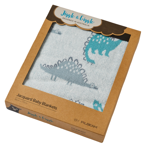 Boxed Baby Dino Jacquard Cotton Blanket - Hansel and Gretel Coffee House