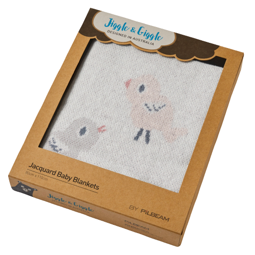Boxed Baby Bird & Bunny Jacquard Cotton Blanket - Hansel and Gretel Coffee House