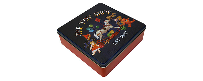 Embossed Square Toy Shop Shortbread Biscuits Tin 400g
