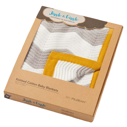 Boxed Zig Zag Mustard, Grey & White Knitted Baby Blanket - Hansel and Gretel Coffee House