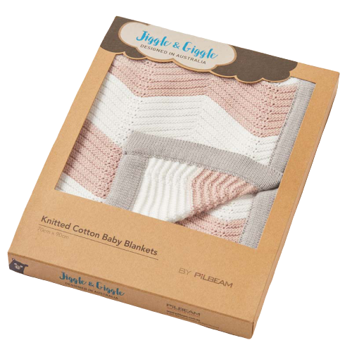 Boxed Zig Zag Pink, Grey & White Knitted Baby Blanket - Hansel and Gretel Coffee House