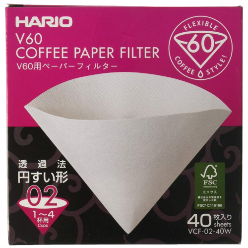 Hario V60  papers 100 piecesCoffee Paper Filter - 1-4 cups - Hansel and Gretel Coffee House