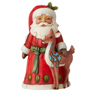 "Heartwood Creek By Jim Shore - 12.7cm/5"" Pint Sized Santa With Deer *CHRISTMAS SPECIAL! WAS $68, NOW $47*"