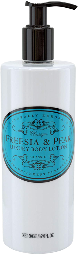 NATURALLY EUROPEAN BODY LOTION PUMP - FREESIA & PEAR - 500ml - Hansel and Gretel Coffee House