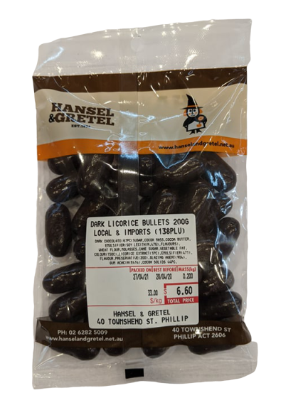 Dark Choc Liquorice Bullets, 200g - Hansel and Gretel Coffee House