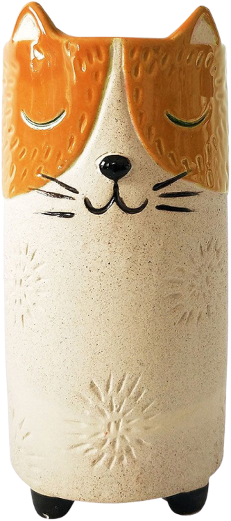 Cat Vase Orange Sand Med 18cm - Hansel and Gretel Coffee House