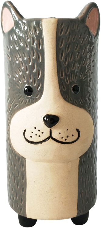 Dog Vase Grey Sand Med 18cm - Hansel and Gretel Coffee House
