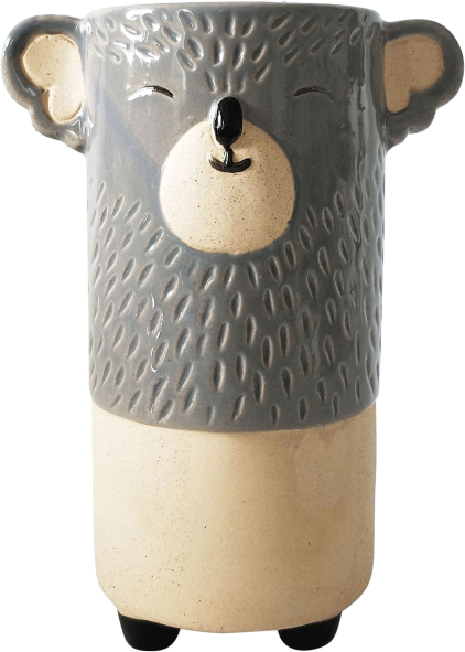 Koala Vase Grey Sand Med 18cm - Hansel and Gretel Coffee House