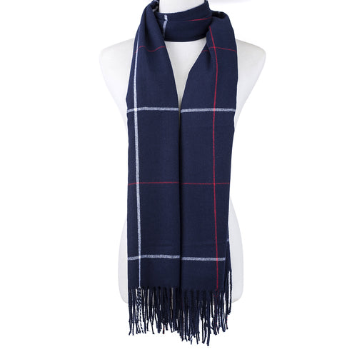 Navy Check Scarf - Hansel and Gretel Coffee House