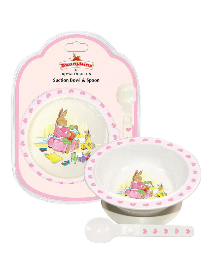 BUNNYKINS SUCTION BOWL & SPOON - SWEETHEART PINK