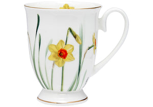 Floral Symphony Daffodil Footed Mug - Hansel and Gretel Coffee House