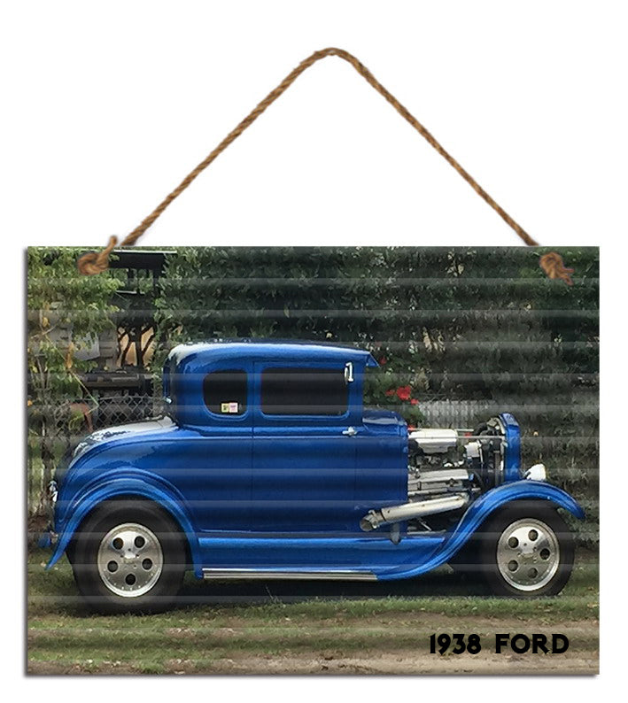 Sign Corrugated 1938 Ford Blue 30cm x 40cm