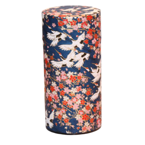 JAPANESE TEA CANISTER - FLYING CRANE NAVY - 200G