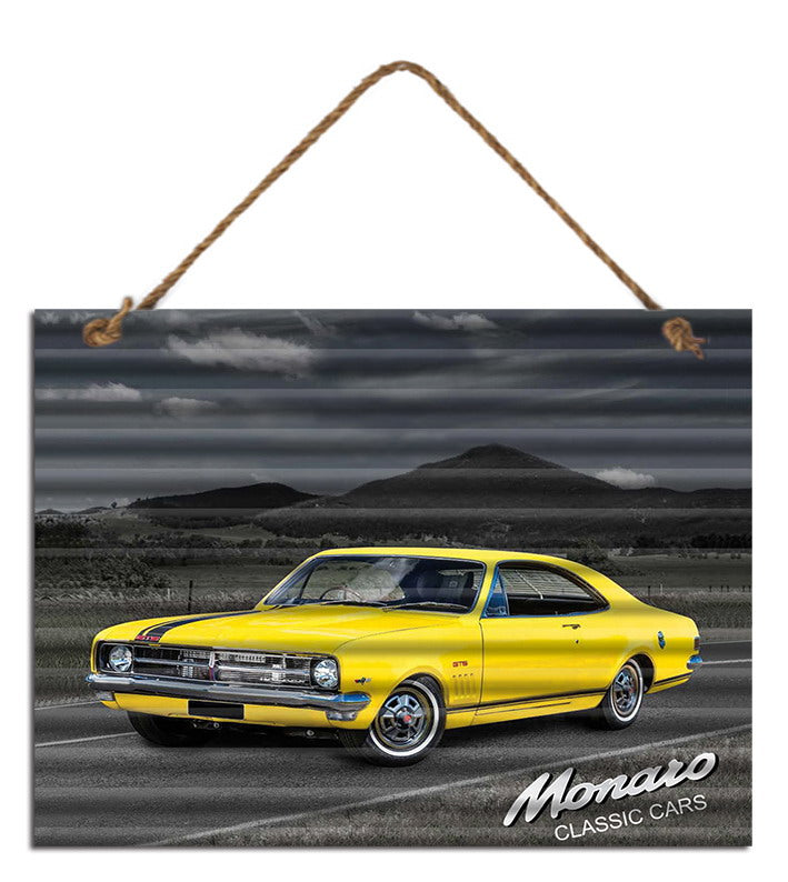 Sign Corrugated Holden Monaro Yellow 30cm x 40cm