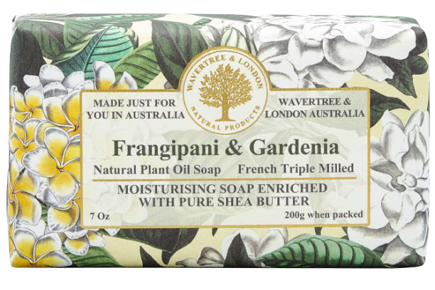 WAVERTREE & LONDON - FRANGIPANI & GARDENIA SOAP BAR 200G - Hansel and Gretel Coffee House