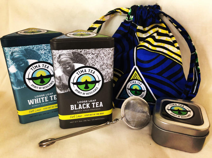 Travel Tea Gift Set with White and Black Tea Tins