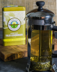 Organically-Grown Direct Trade Tulsi Lemongrass Tea in Tin