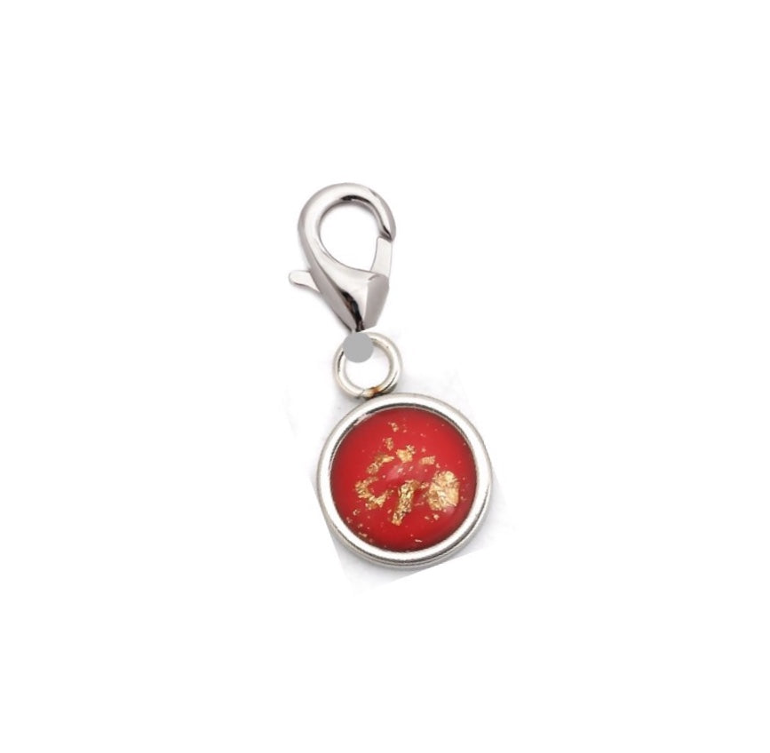 Red Stone Charm with gold foil finish