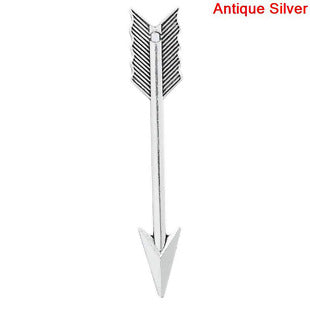 Arrow Charm, Long Silver Tone
