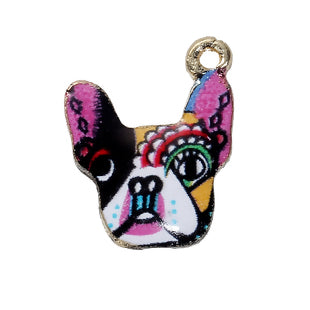 Dog Charm, Colorful Enamel