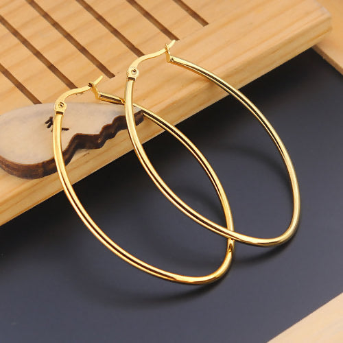 Earrings Oval Hoops, Gold Plated Stainless Steel, small