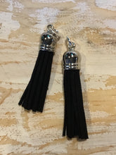 Load image into Gallery viewer, HOOP EARRING CHARMS tassel soft gray suede