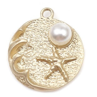 Starfish Charm, Goldtone with Pearl