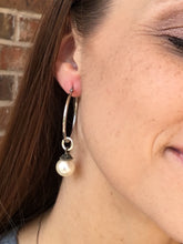 Load image into Gallery viewer, HOOP EARRING CHARMS faux pearl with little antique bronze top