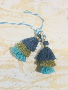 HOOP EARRING CHARMS tassel 3 tiered blue, olive, turquoise