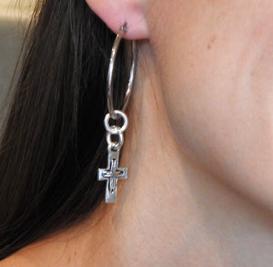 HOOP EARRING CHARMS cross with tie strands look