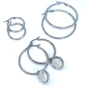 HOOP EARRING CHARMS druzy clear crystals